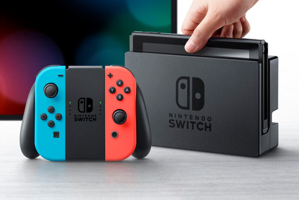 Switch configured for TV play, with Joy-Con controllers in Joy-Con Grip