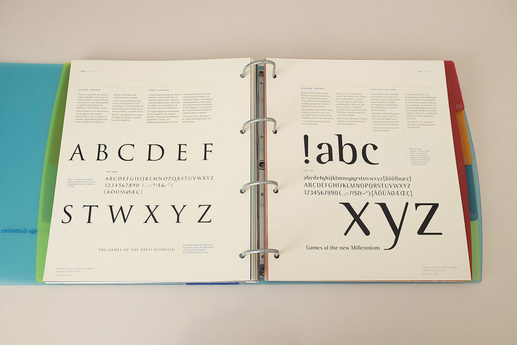 Typefaces: Trajan for official applications and Binary for headlines