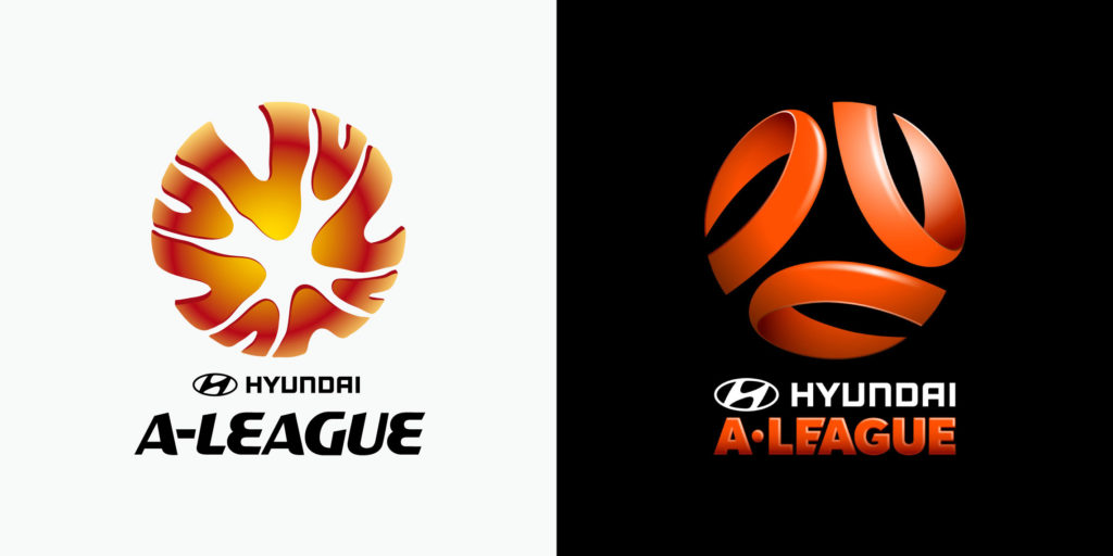 A-League logo before and after