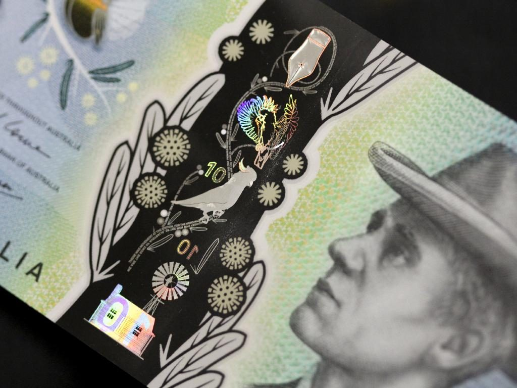 Detail of the clear strip which features the Sulphur-crested Cockatoo and Bramble Wattle designs