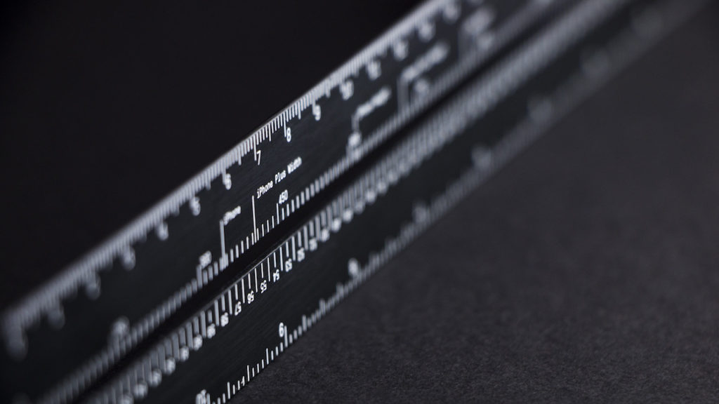 The Lindlund ruler has markings for iPhone and iPad screen sizes