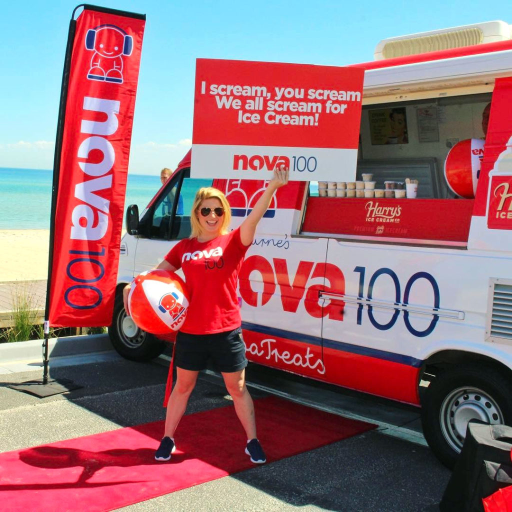 Nova street team decked out in the new branding featuring the revised Nova Boy