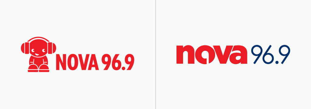 Station logo before and after (example shown is Nova 96.9 in Sydney)