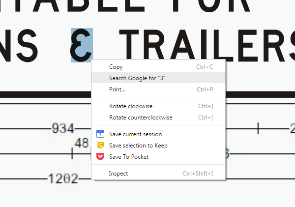 "In the design plan PDF for Guide Sign No. G9-368-1, Google Chrome shows that the ampersand glyph is assigned to the ""3"" character"