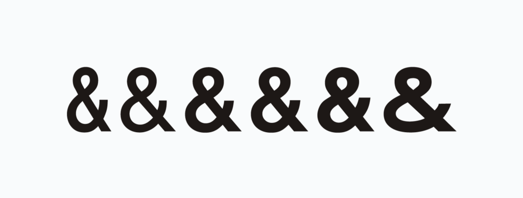 "Ampersands in the Highway Gothic/FHWA Series family; left to right: ""B"", ""C"", ""D"", ""E"", ""E Modified"" and ""F"" fonts"