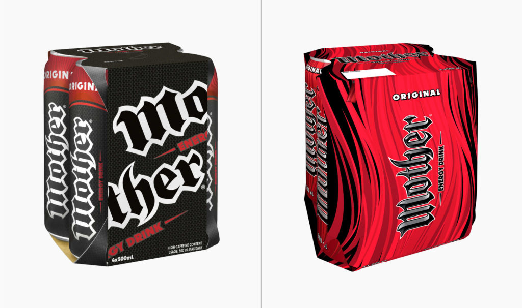 Old and new packaging for Mother Original 4-pack