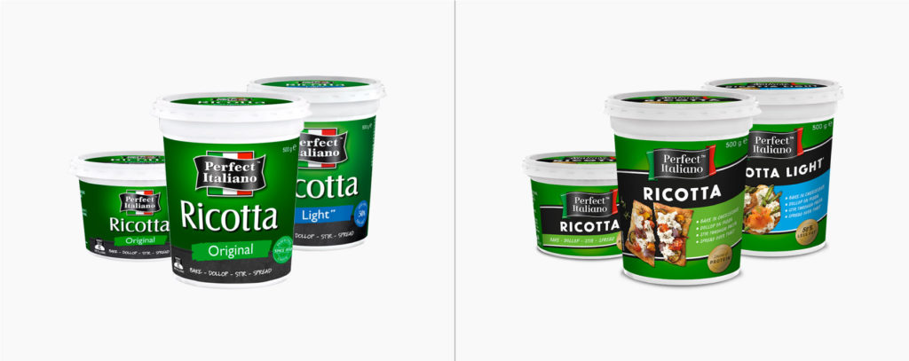 Ricotta before and after