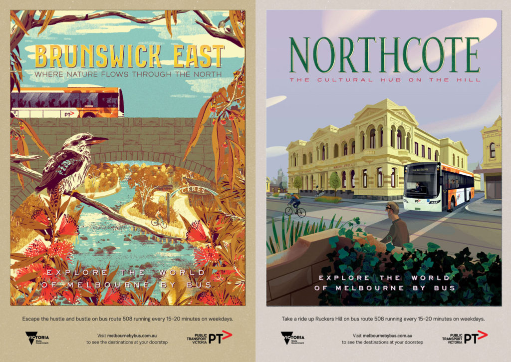 Posters for Brunswick East (by Timba Smits) and Northcote (by Nigel Buchanan)