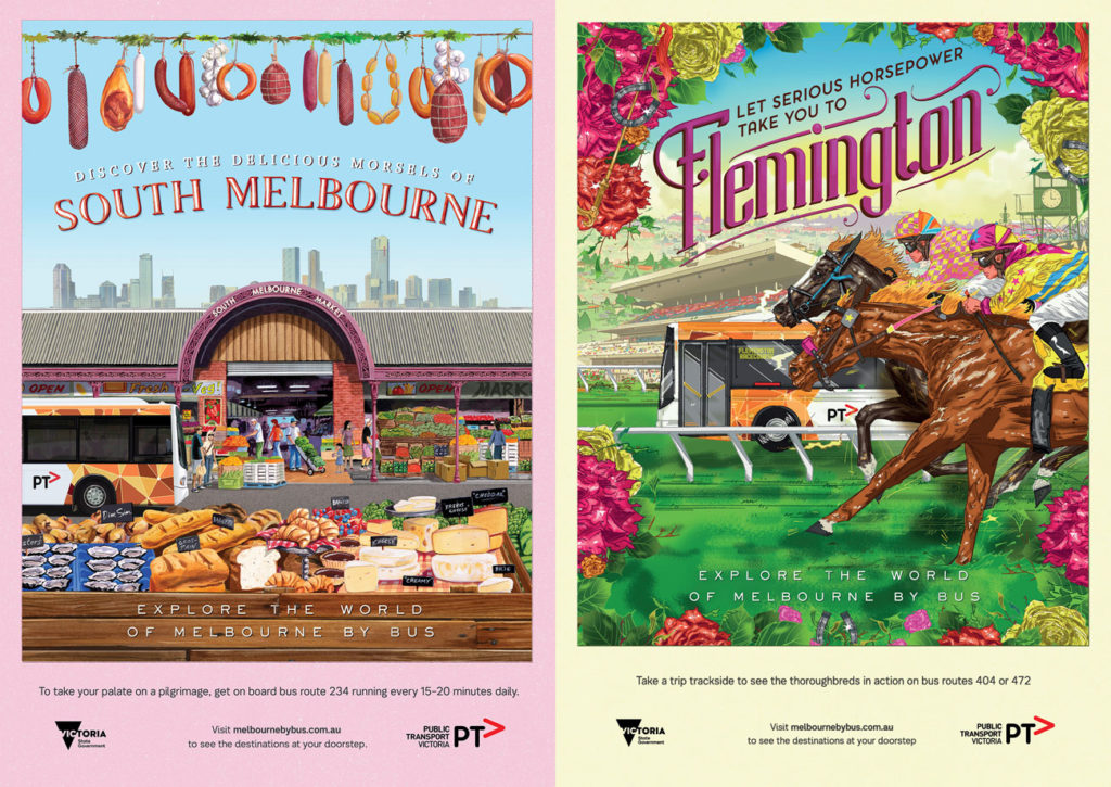 "Posters for South Melbourne Market (by Stuart McLachlan) and Flemington (by Eamon ""Eamo"" Donnelly)"