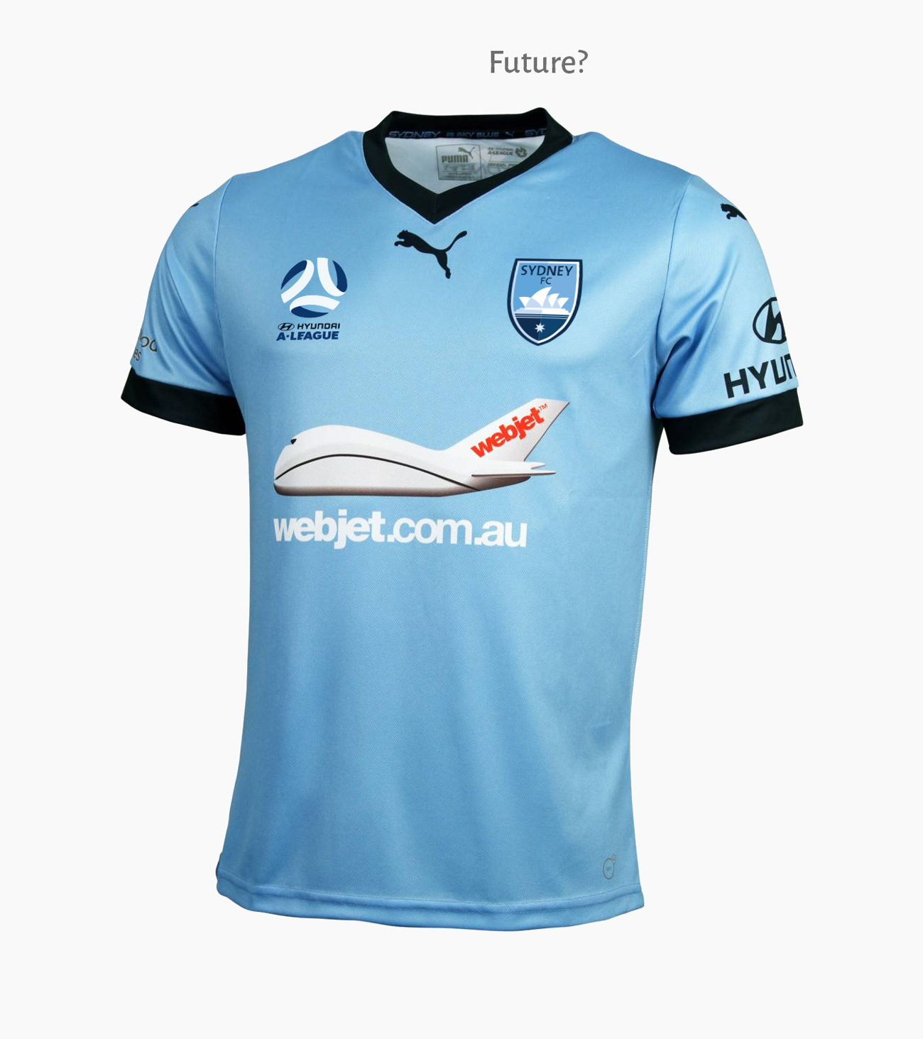 Mockup of anticipated Sydney FC 2017/18 men's home jersey with new A-League and club logos