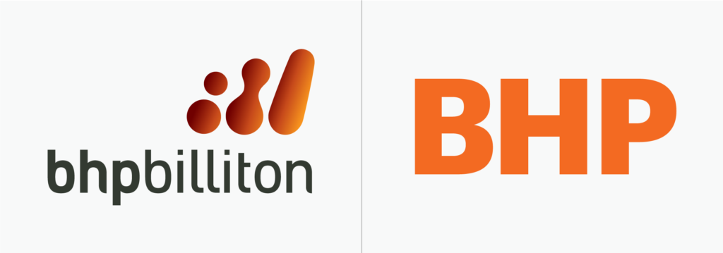 BHP logo before and after