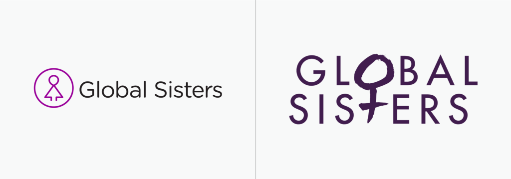 Global Sisters logo before and after