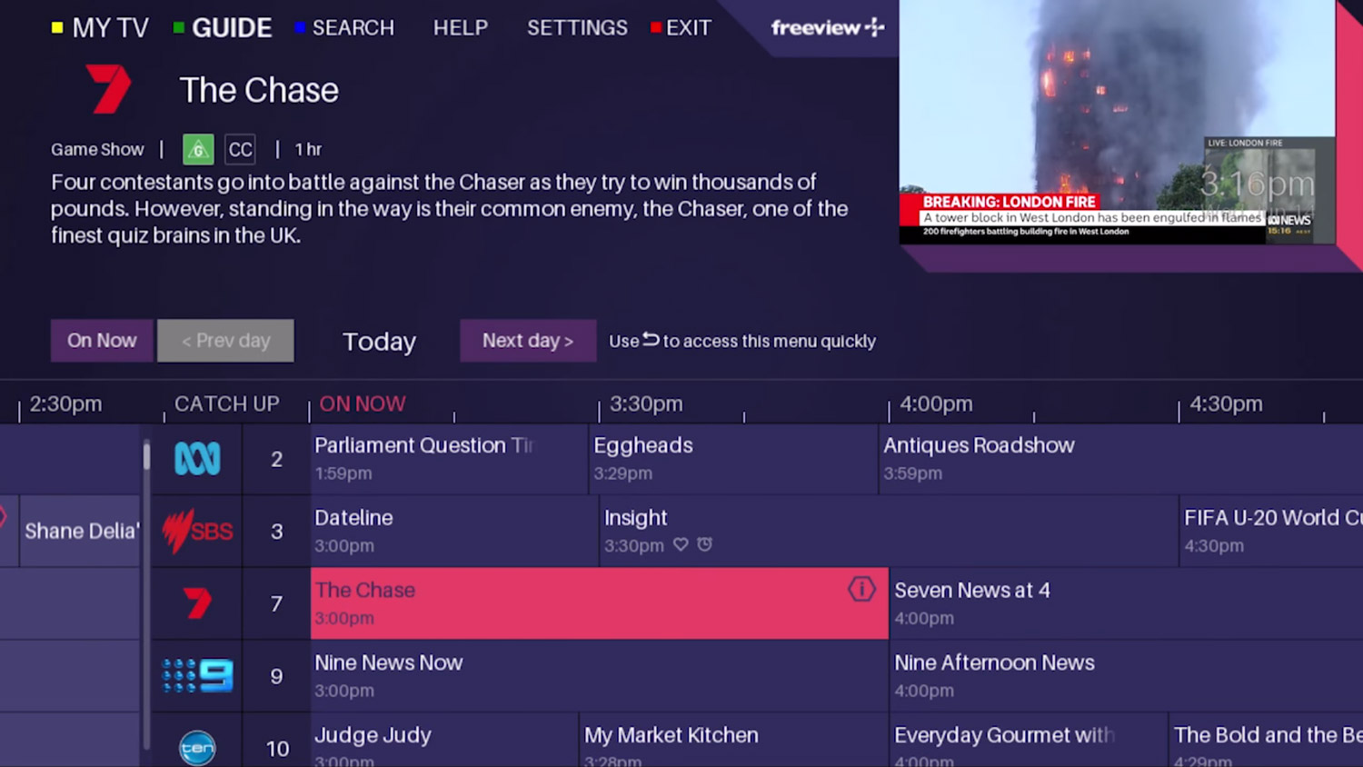 New Freeview Plus program guide