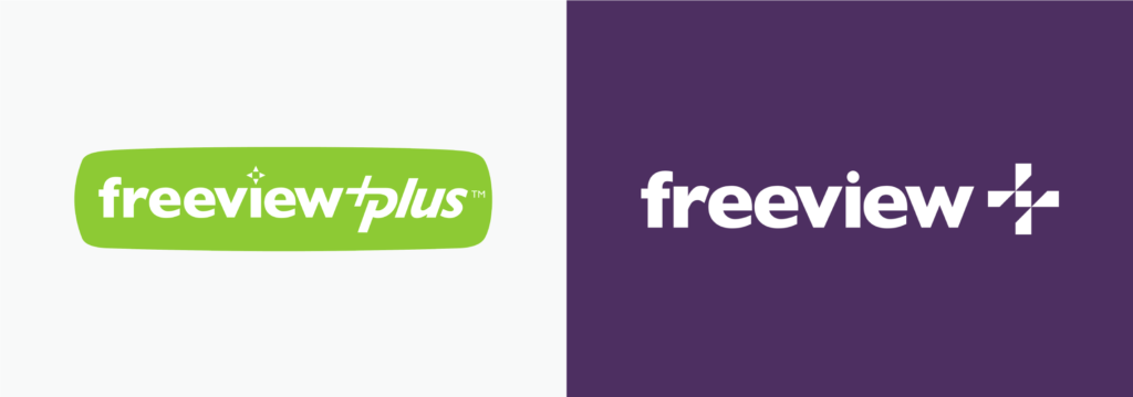 Freeview Plus logo before and after
