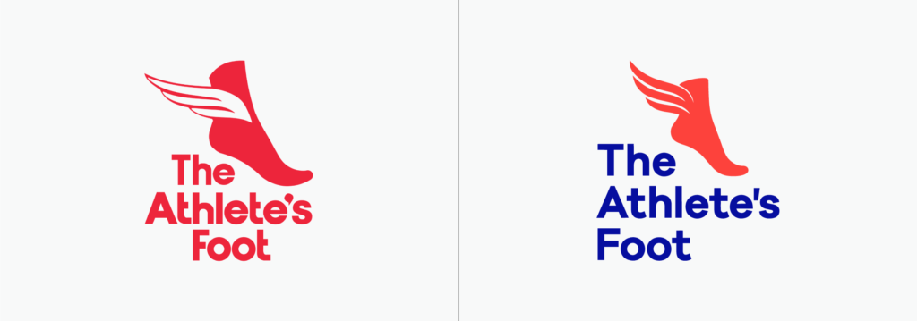 The Athlete's Foot logo before and after (vertical)