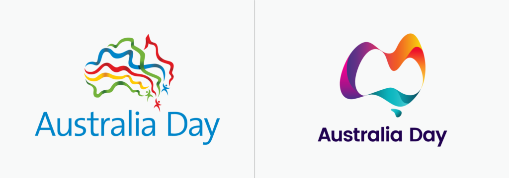 Australia Day logo before and after
