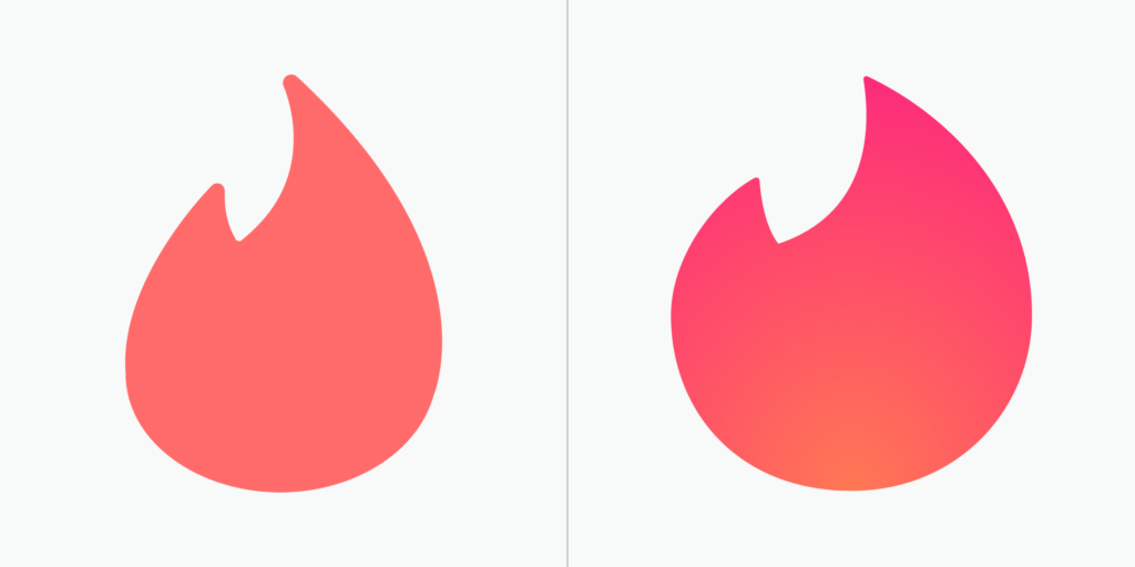 "Tinder ""flame"" icon before and after"
