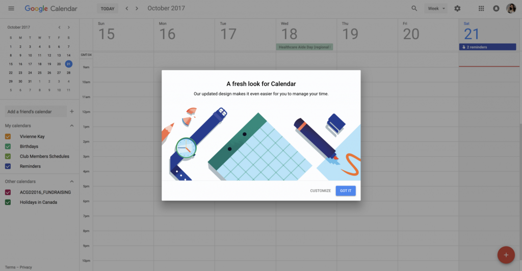 Google Calendar: pop-up informing users of the new design