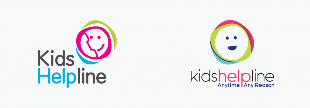 Kids Helpline logo before and after