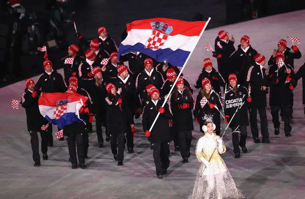 Croatian flagbearer Natko Zrnčić-Dim leads out his national team in the Opening Ceremony of the Pyeongchang 2018 Olympic Winter Games