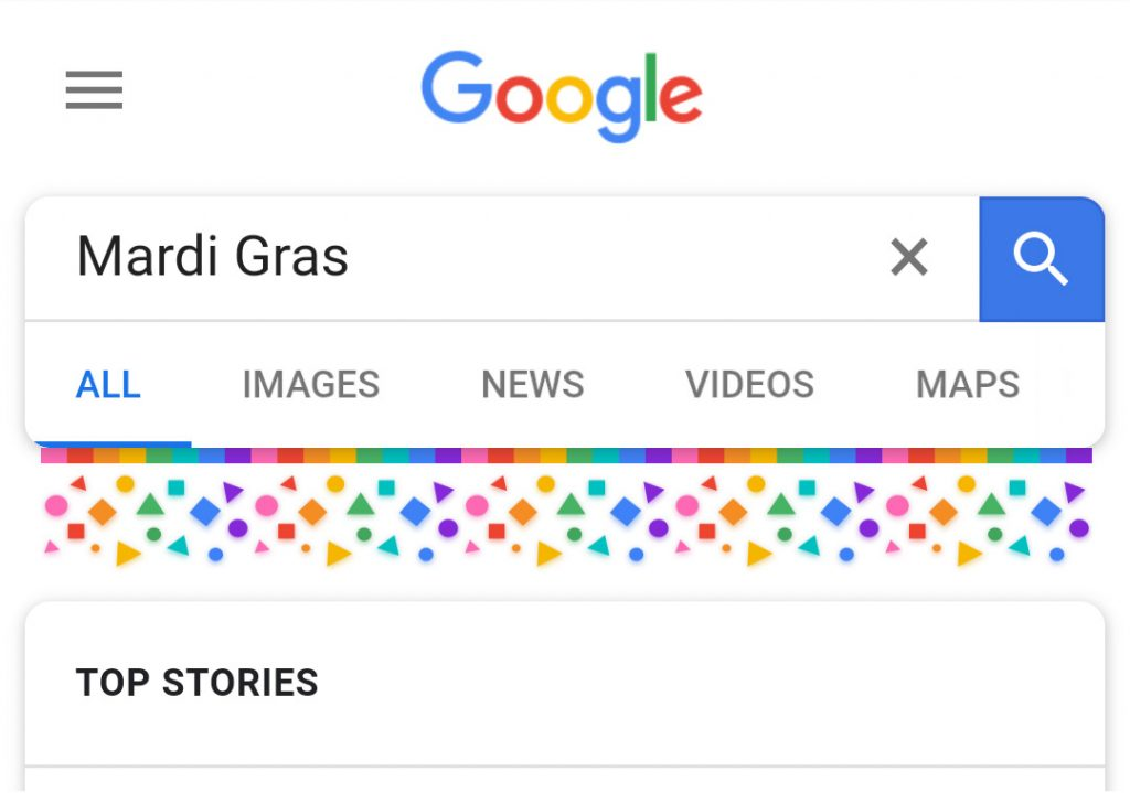"Google search results for ""Mardi Gras"" on mobile displaying rainbow motifs"