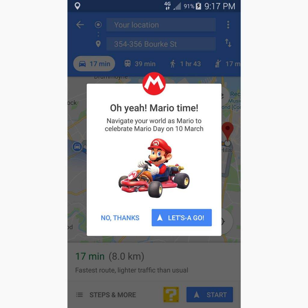 It's-a Mario time! Mario Kart mode on Google Maps