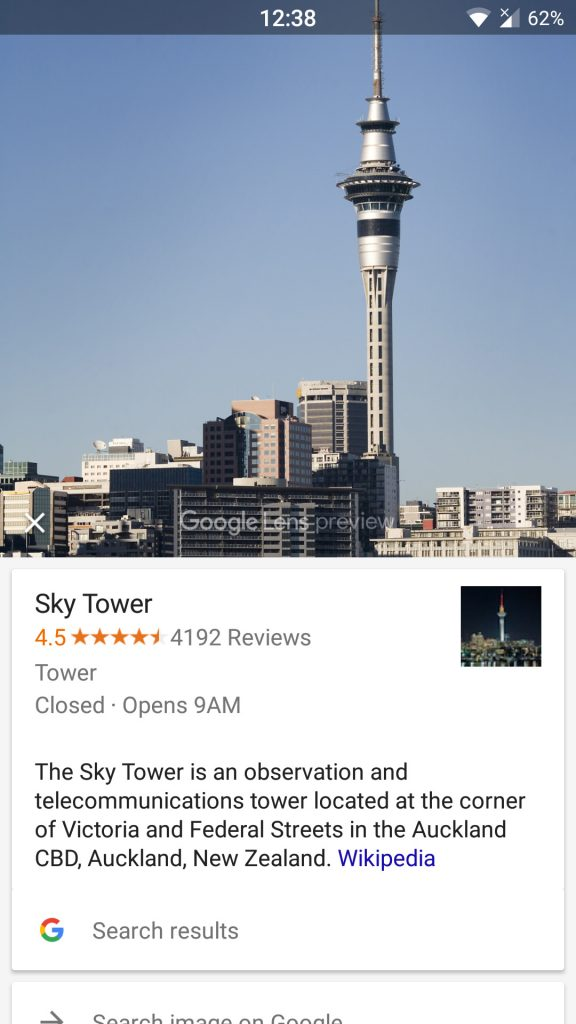 Google Lens offering more information and ratings on a recognised landmark