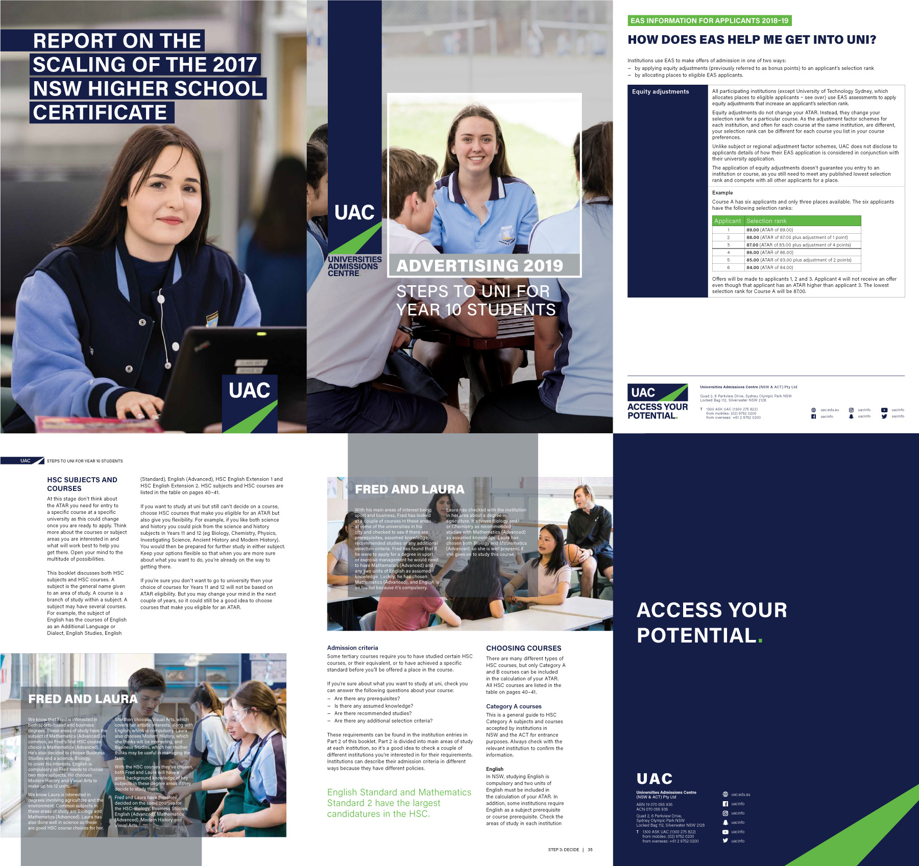 Example pages from Universities Admissions Centre publications