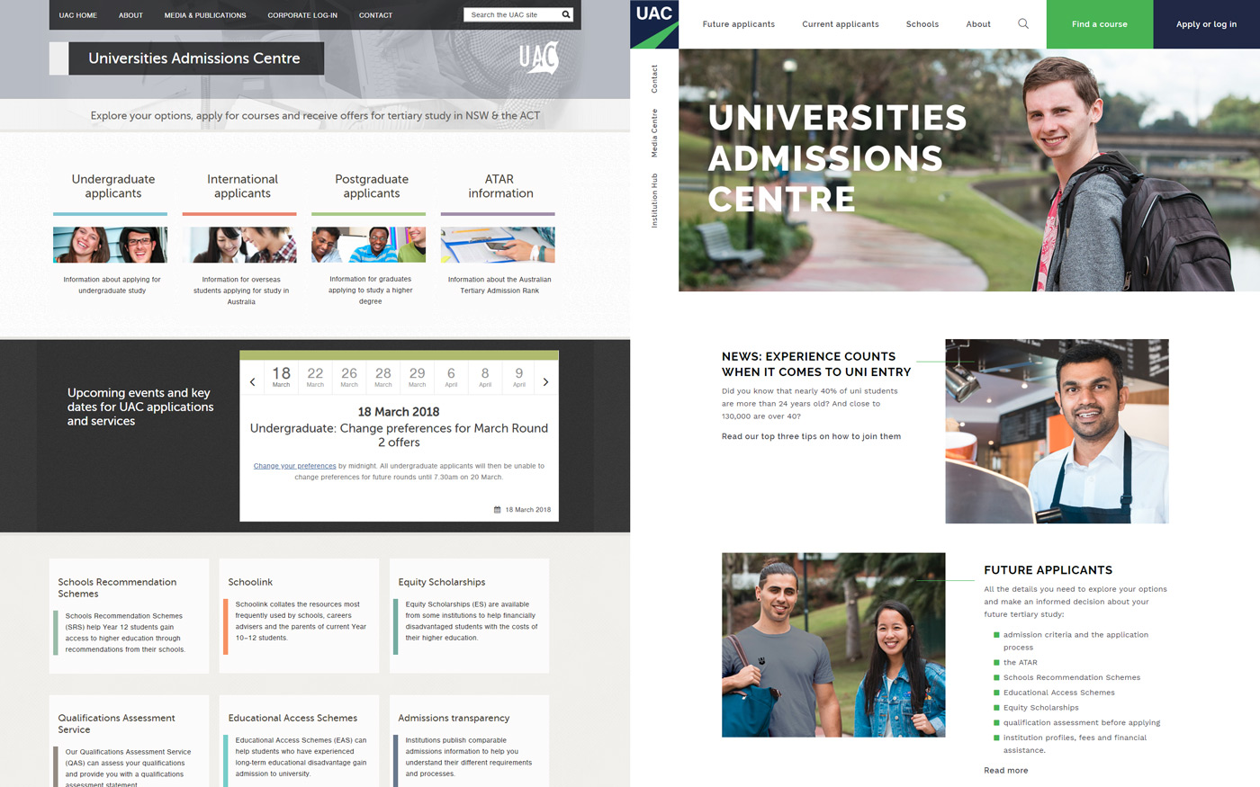 Universities Admissions Centre website home page before and after