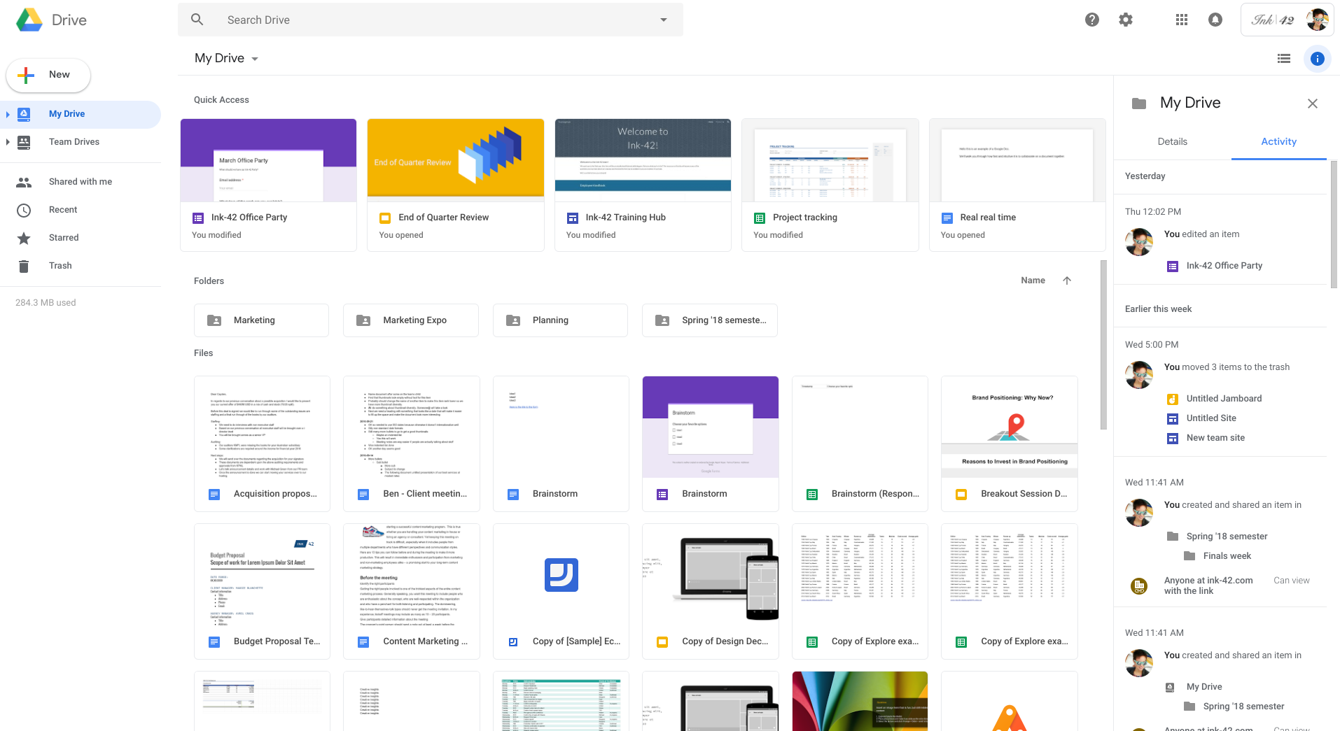 Google Drive new home screen with info pane open