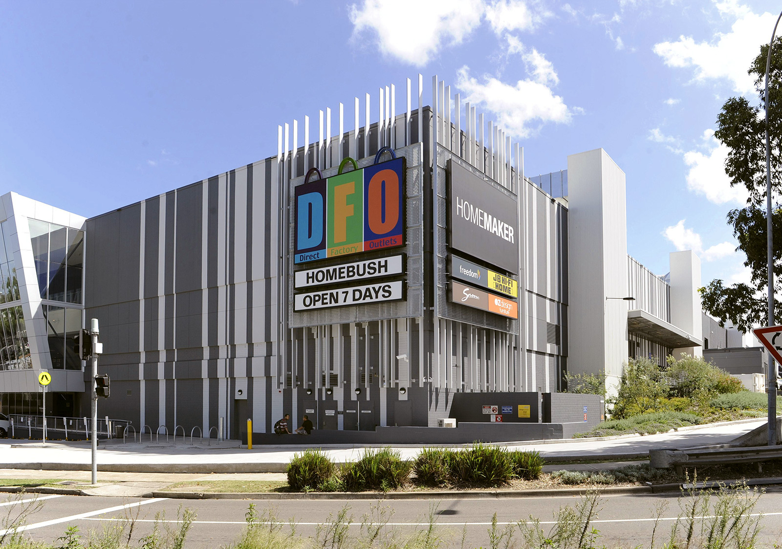 DFO Homebush exterior with old logo