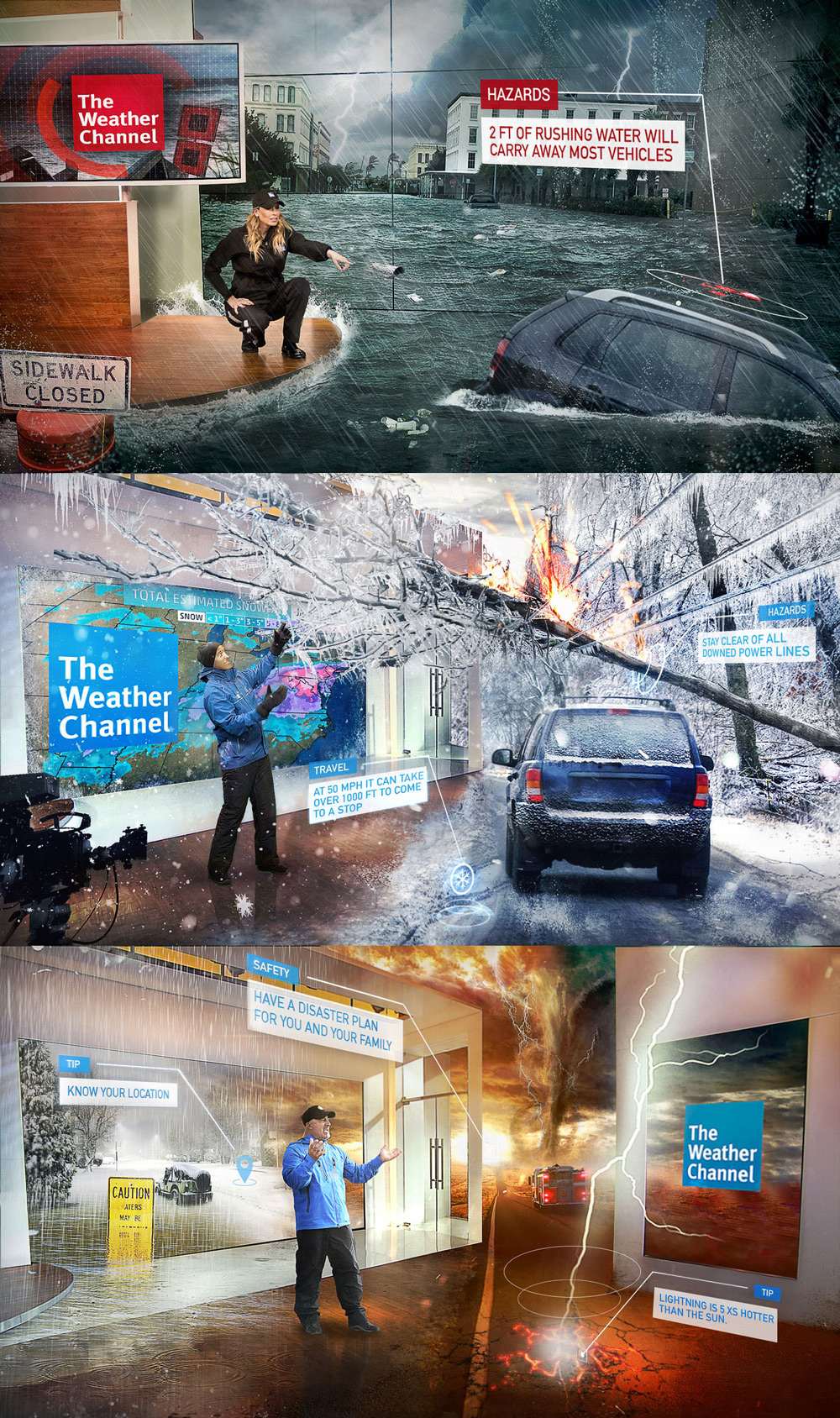 Examples of immersive mixed-reality graphics infused into weather presentations