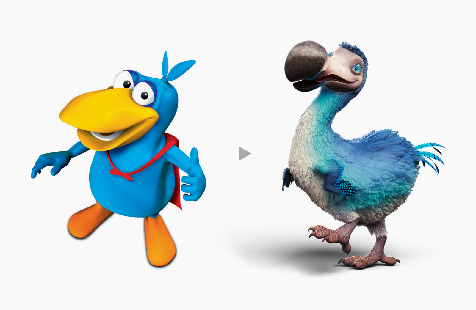 Dodo bird mascot before and after
