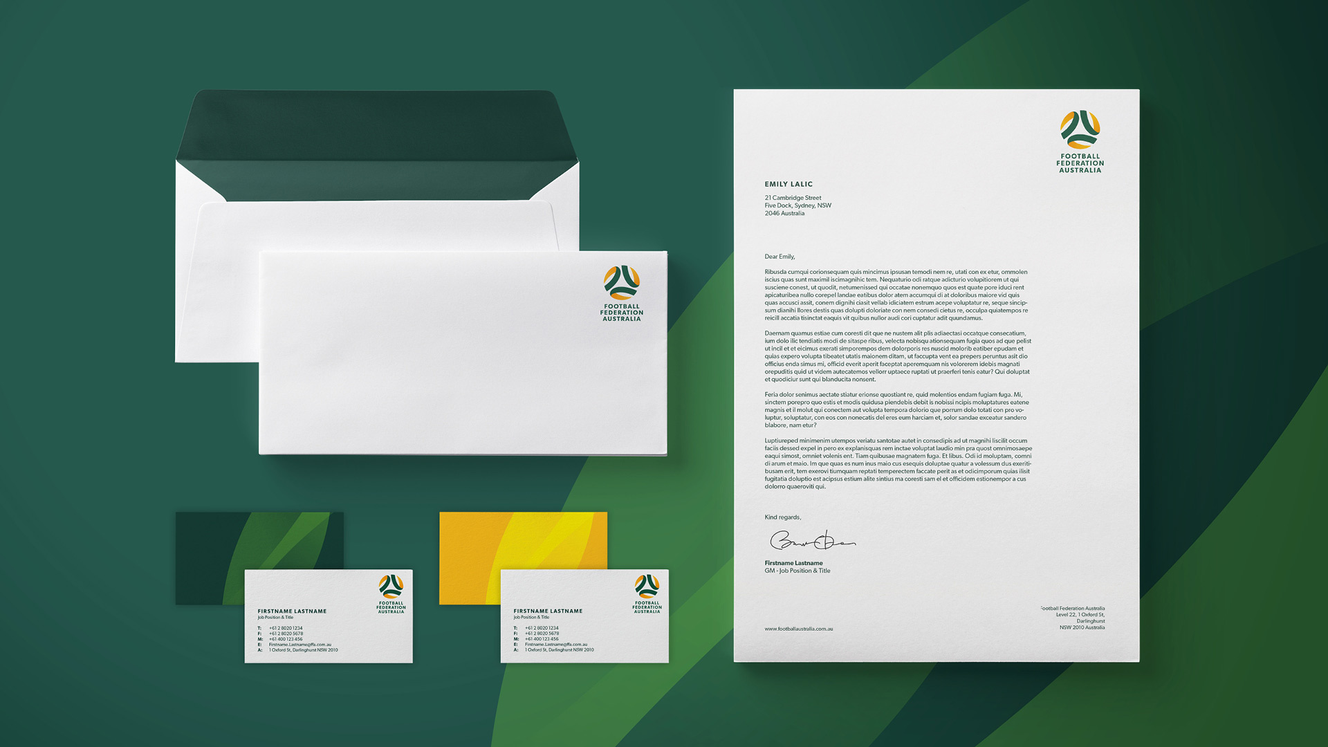 New Football Federation Australia stationery